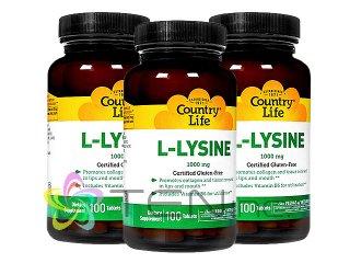 L-リジン1000mg 3ボトル(100tabs x 3) (CountryLife/アメリカ製/国際ヤマト)