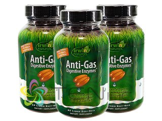 アンチガス・ダイジェスティブエンザイム 3ボトル(45SoftGels x 3) (IrwinNaturals/アメリカ製/国際ヤマト)