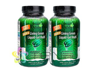 リビンググリーンリキッドジェルマルチ(男性用) 2ボトル(120SoftGels x 2) (IrwinNaturals/アメリカ製/国際ヤマト)