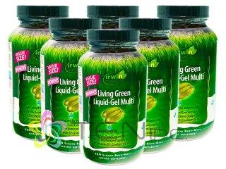 リビンググリーンリキッドジェルマルチ(女性用) 6ボトル(120SoftGels x 6) (IrwinNaturals/アメリカ製/国際ヤマト)