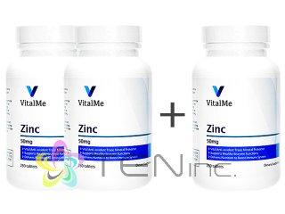 ジンク(VitalMeZinc)50mg 2ボトル+1ボトルサービス(250tabs x 3)(バイタルミー/USA製/国際ヤマト)