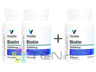 ビオチン(VitalMeBiotin)10000mcg 2ボトル+1ボトルサービス(120caps x 3)(バイタルミー/USA製/国際書留)