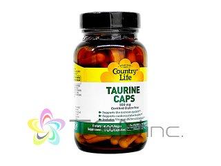 タウリン(Taurine)500mg 1ボトル100カプセル(CountryLife/USA製/国際書留)