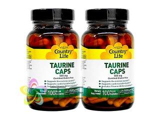 タウリン(Taurine)500mg 2ボトル(100caps×2)(CountryLife/USA製/国際書留)