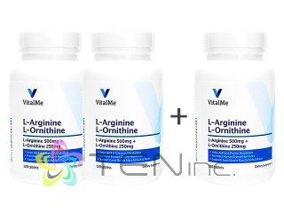 L-アルギニン&L-オルニチン2ボトル+1ボトルサービス(120tabs x3)(バイタルミー/USA製/国際ヤマト)