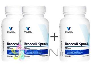 ブロッコリースプラウト(BroccoliSprouts)500mg 2ボトル+1ボトルサービス(120tabs x 3)(バイタルミー/USA製/国際書留)