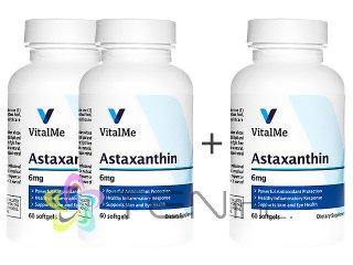アスタキサンチン(Astaxanthin)6mg 2ボトル+1ボトルサービス(60softgel x 3)(バイタルミー/USA製/国際書留)