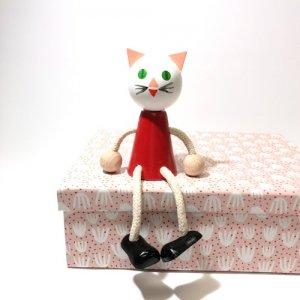 チェコの木の人形カラー ネコ