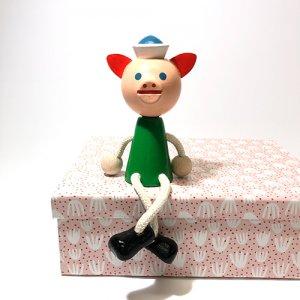 チェコの木の人形カラー ブタ