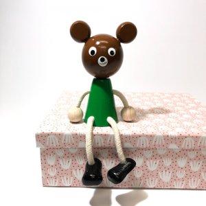 チェコの木の人形カラー ちゃいろのクマ