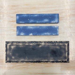S様専用・デニムタイル(Aダメージブラック1、Dダメージブルー2)文字加工(3枚分)、両面テープ+ボンド付