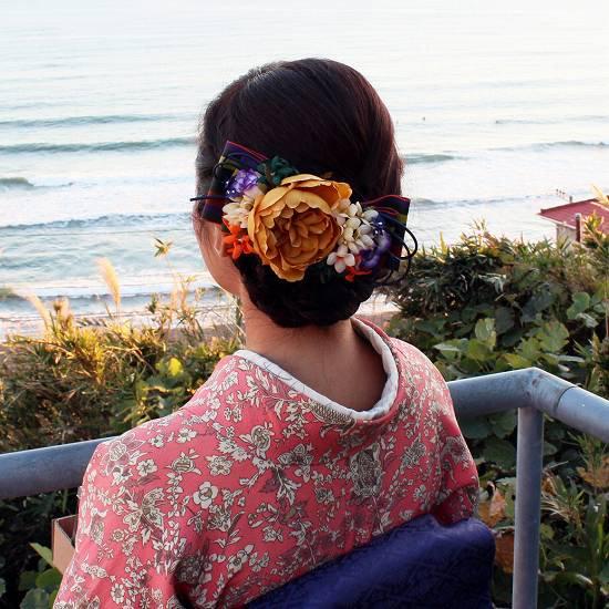 【レトロ 和装】バラの髪飾り レトロ な リボン のチェンジコーム 2WAY