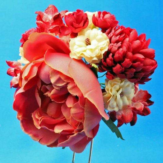【レトロ 和装】バラ と ポンポンマム が 華やか レトロカラー かんざし【画像7】