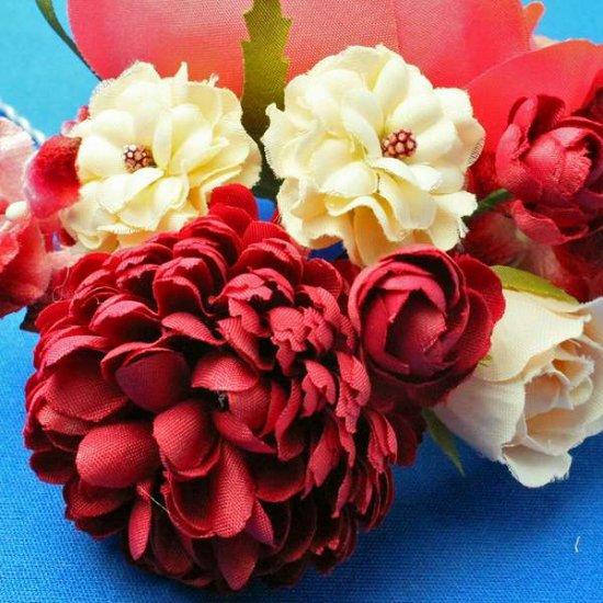 【レトロ 和装】バラ と ポンポンマム が 華やか レトロカラー かんざし【画像9】