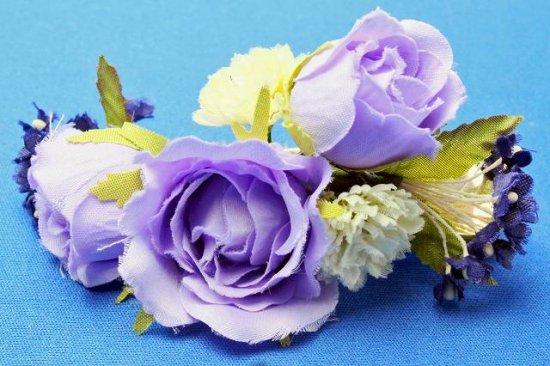 【レトロ 和装】バラと小花のヘアクリップ【画像6】