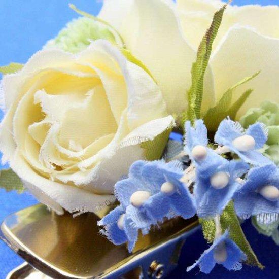 【レトロ 和装】バラと小花のヘアクリップ【画像9】