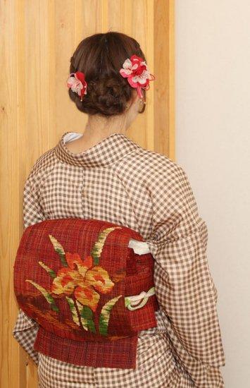 【和装 髪飾り セット】ラメと薄縮緬のフラワー クリップ 髪飾り かんざし 2点セット【画像4】