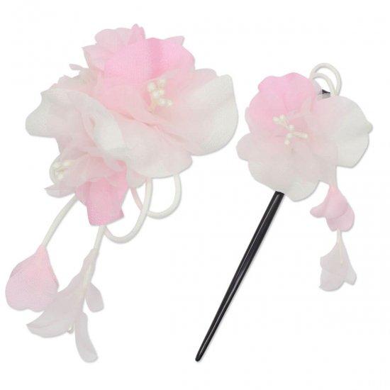【和装 髪飾り セット】薄縮緬の花飾り クリップ かんざし 2点セット【画像12】