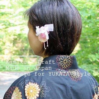 和装髪飾り Uピン バラの鈴付き髪飾りUピンつき