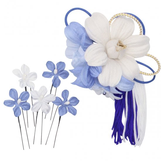 髪飾り,青