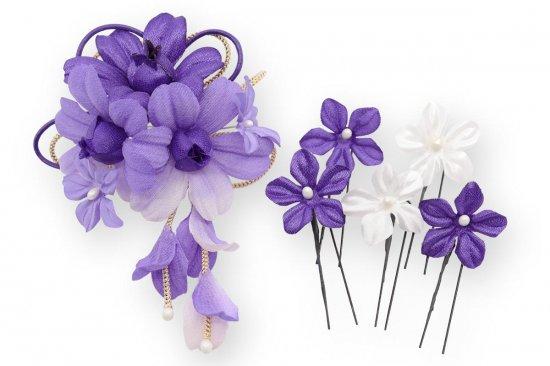 和装 髪飾り セット | 蘭 花びら揺れる 和装髪飾り ヘアクリップ 1点 Uピン 5本 セット【画像20】