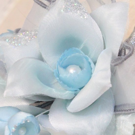 ブルー 青 水色 二輪 コサージュ ケース付き【画像8】