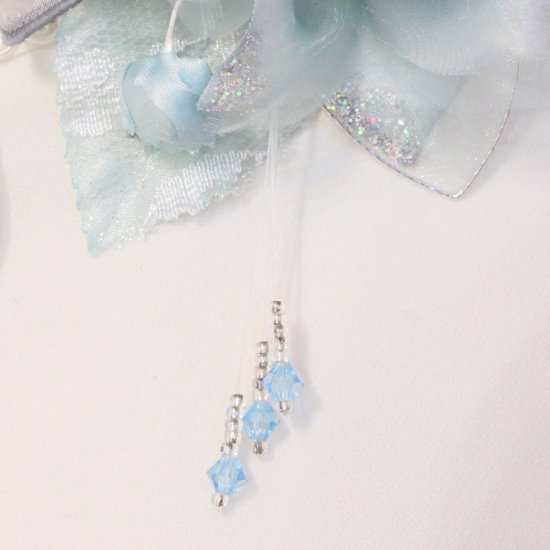 ブルー 青 水色 二輪 コサージュ ケース付き【画像9】