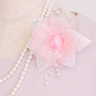 コサージュ   パール 装飾 つき ピンク パール 下がりつき コサージュ ケース付き