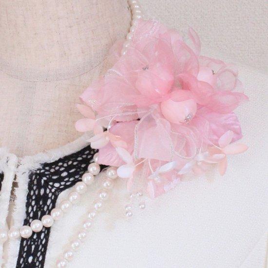 ピンク バラ 小花 コサージュ ケース付き