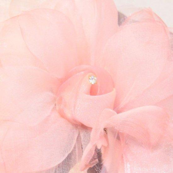 ピンク 花びら 下がりつき シルク コサージュ 正絹 ケース付き【画像7】