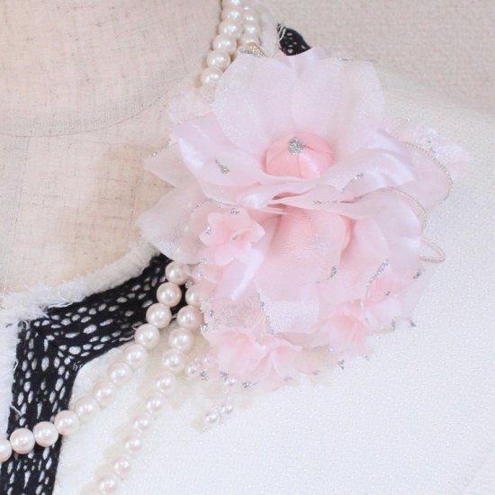 ピンク 三輪 小花 パール コサージュ ケース付き