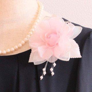 コサージュ   パール 装飾 つき ピンク 一輪 パール コサージュ ケース付き