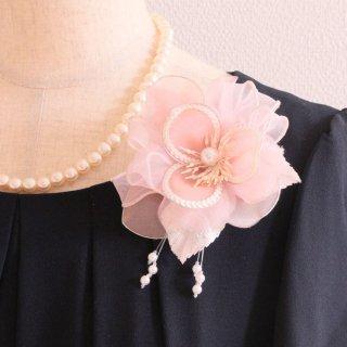 コサージュ   パール 装飾 つき ピンク 一輪 スパンコール パール コサージュ ケース付き