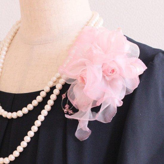ピンク 正絹 シルク バラ コサージュ ケース付き