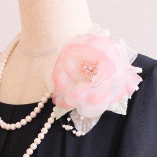 和装 髪飾り   価格で選ぶ  ピンク 大きい 一輪 パール コサージュ ケース付き