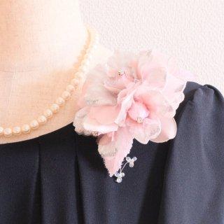 和装 髪飾り | 価格で選ぶ  ピンク シルバー 銀 ラメ 光沢 コサージュ ケース付き