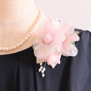 和装 髪飾り   価格で選ぶ  ピンク 光沢 ラメ パール コサージュ ケース付き