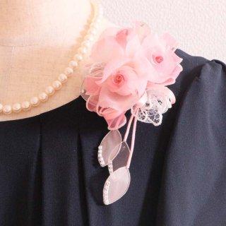 和装髪飾り セット ピンク 小さい バラ 三輪 コサージュ ケース付き