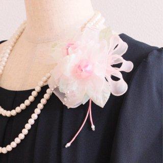 和装髪飾り セット ピンク 光沢 ラインストーン バラ コサージュ ケース付き