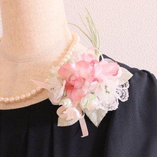 和装髪飾り セット ピンク グリーン 緑 ホワイト 白 コサージュ ケース付き