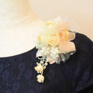 和装髪飾り セット イエロー 黄 バラ 小花 コサージュ ケース付き