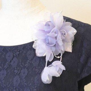 和装髪飾り セット パープル 紫 ラメ 三輪 コサージュ ケース付き