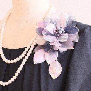 和装髪飾り セット パープル 紫 ラメ 光沢 コサージュ ケース付き