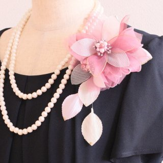和装髪飾り セット ピンク 光沢 二輪 コサージュ ケース付き