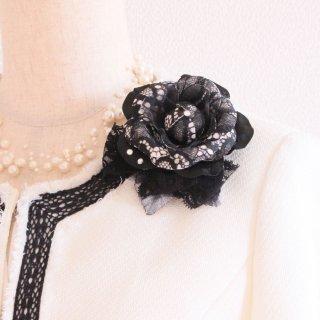 コサージュ | ブラック ( 黒 ) ブラック 黒 小さい 一輪 コサージュ ケース付き