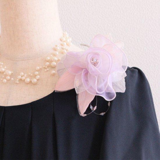 パープル 紫 ピンク 正絹 巻きバラ コサージュ ケース付き