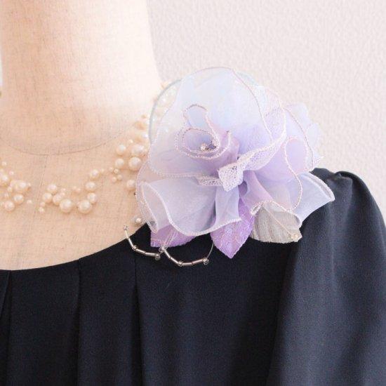 パープル 紫 大きい 巻きバラ オーガンジー コサージュ ケース付き