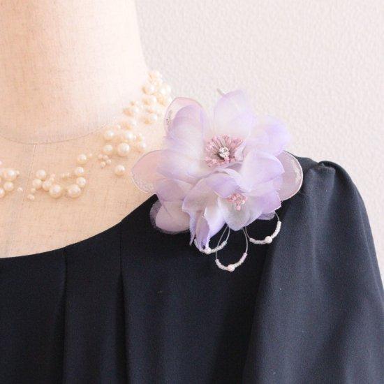 パープル 紫 小さい シルク 正絹 コサージュ ケース付き