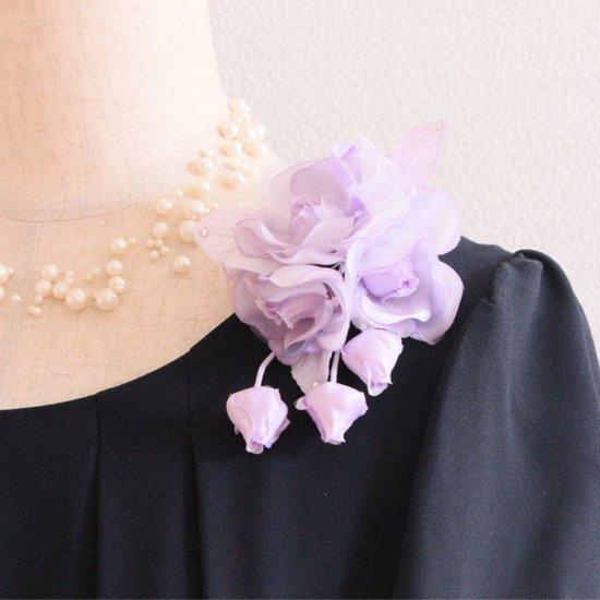 パープル 紫 小さい バラ 蕾 下がり付き コサージュ ケース付き