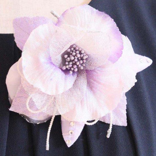 パープル 紫 ラメ 光沢 グラデーション コサージュ ケース付き